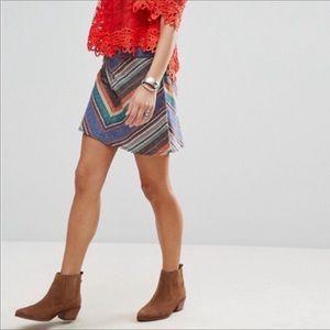 Free People Rainbow Striped Boho Mini Skirt